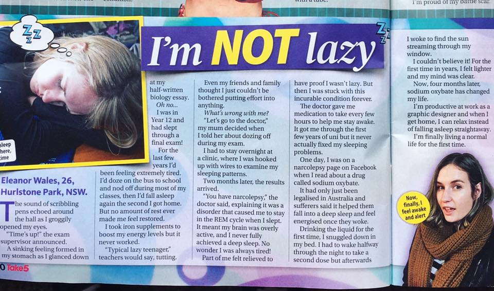 article about narcolepsy in Take 5 magazine